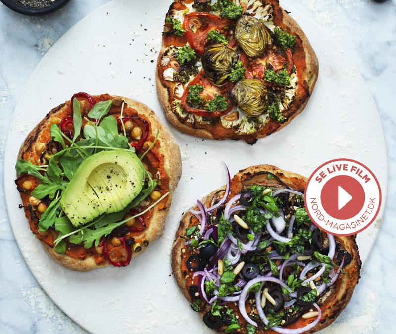 Veganske opskrifter – Mini pizza med linsemos og grønt