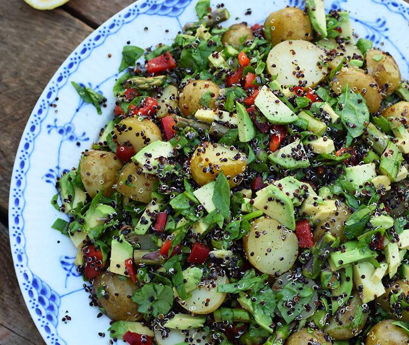 Veganske Hverdagsretter – Kartoffelsalat med quinoa og grønt