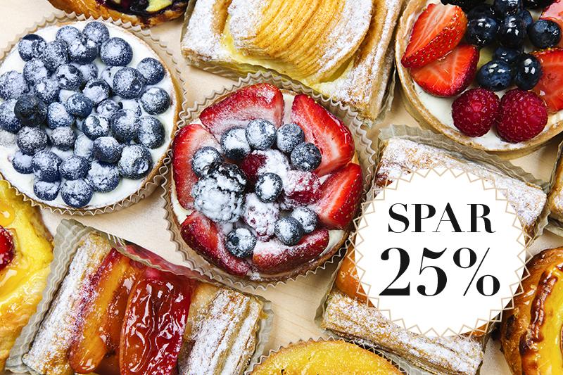 Rabat på tærter og kagemand / Spar 25 %