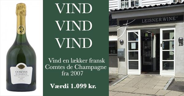 Vind en lækker fransk Comtes de Champagne 2007 fra Taittinger udloddet af Leisner Wine til en værdi af 1.099 kr.