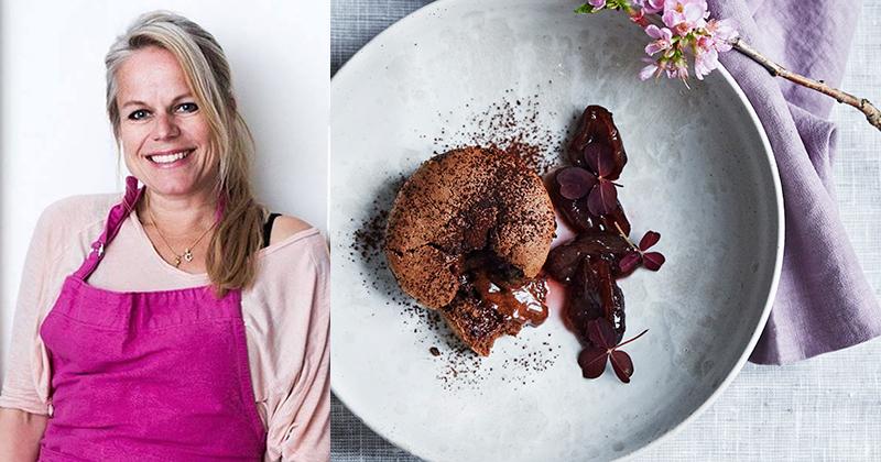 Camilla Lawes – Chokolade fondant med syltede blommer