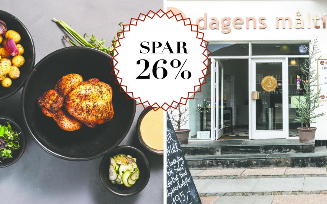 Spar 26% / Køb lækker kyllingemenu og få en gratis vin med